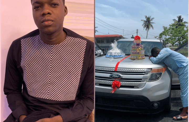 Popular Comedian, Lawyerkunle Gets Car From An Unknown Man As Birthday Gift (Photos)