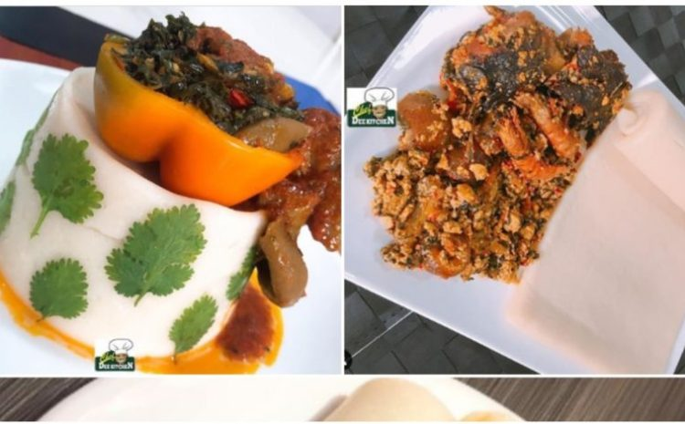 Nigerian Man Breaks Instagram with Photos of his served Poundo Yam With Different Local Soups (photos)