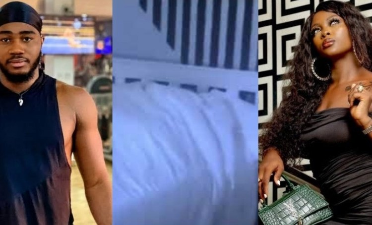 BBNaija Housemates, Katrina and Praise Caught On Camera Doing This | See Reaction