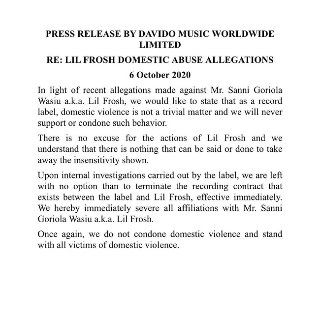 Davido terminates Contract with Lil Frosh over Domestic violence