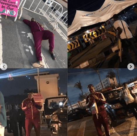 Comedian Mr Macaroni and other #EndSARS protesters passed the night at Lagos government house in spite of security operatives seizing their chairs (videos)