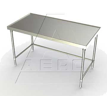 aerospec 1tsx tables with stainless legs raised v edges and shelf
