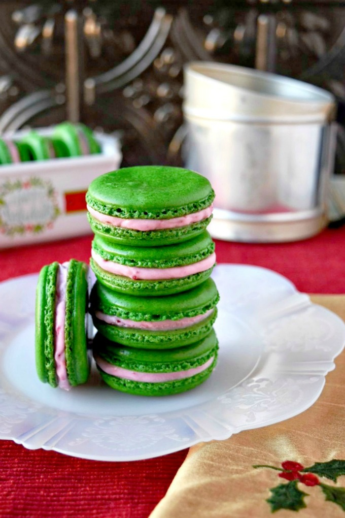 Put your leftover cranberry sauce to good use in these macaron.  Pistachio Cranberry Macaron have all the flavors of the holidays in a delicately delicious cookie.