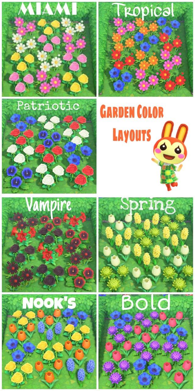 Best Acnh Garden Design Ideas Tips Animal Crossing New Horizons Garden Flower Color Layouts
