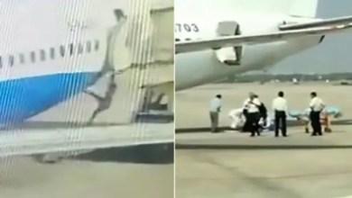 صورة بالفيديو .. لحظة سقوط مضيفة من طائرة ركاب صينية