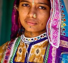 Portrait of Harijan Girl, Khavda Village, Kutch, Gujarat, India