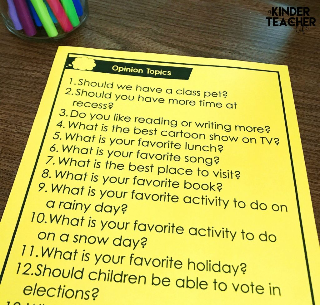 Teaching Opinions In Kindergarten