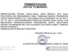 Kemenhub Terbitkan Notam Terkait Tumpahan Minyak di Pantai Utara Jawa