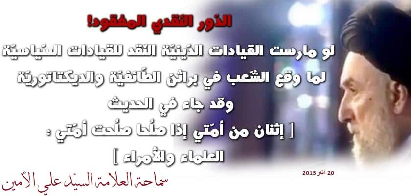 نقد القيادات - السيد علي الأمين
