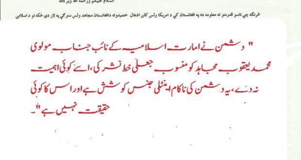 امارت اسلامیہ کے نائب کو منسوب خط جعلی ہے/ترجمان