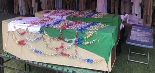 ڈی آئی خان میں شہید ہونے والے پولیس اہلکاروں کی نماز جنازہ پشاور میں ادا کر دی گئی