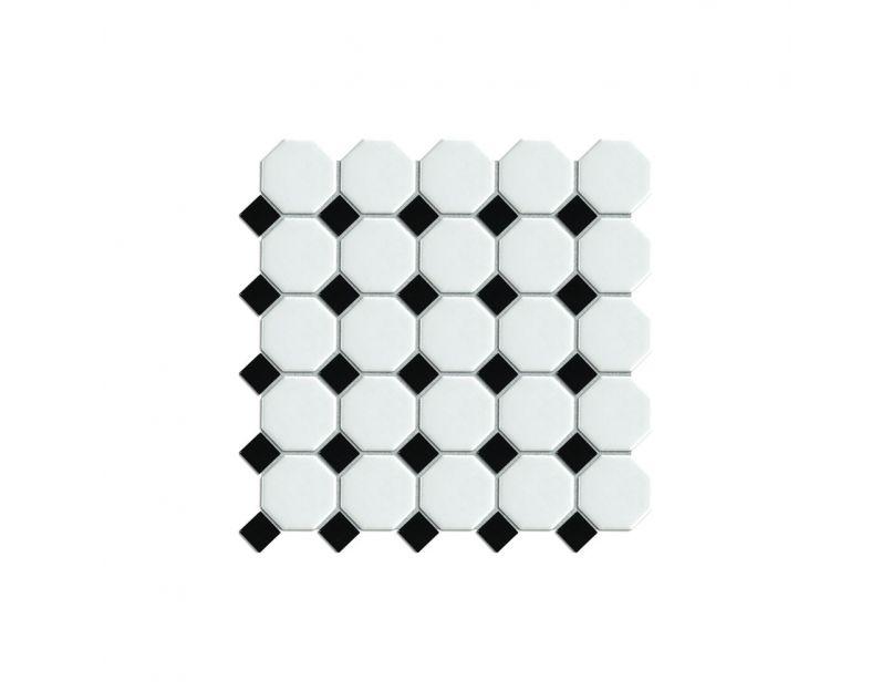octagon white on black matt gloss 29 5cm x 29 5cm mosaic tile