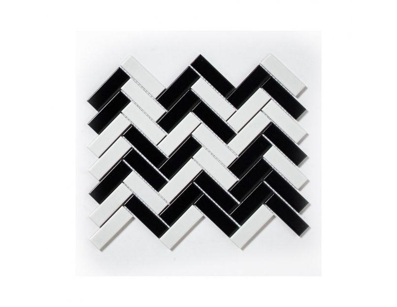 herringbone white black matt mosaic tile
