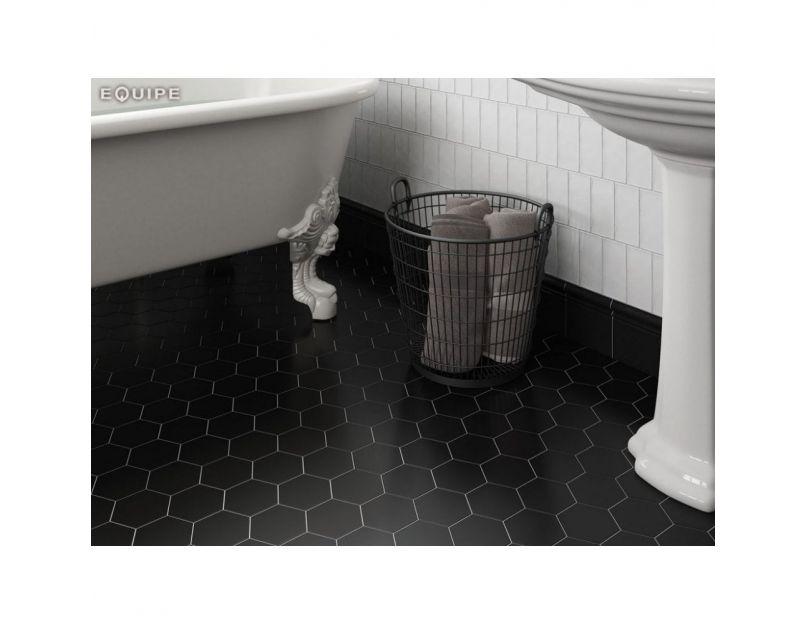 porcelain black m 11 6cm x 10 1cm hexagon floor tile