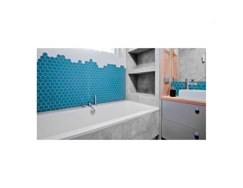 dark blue matt hexagon mosaic tile