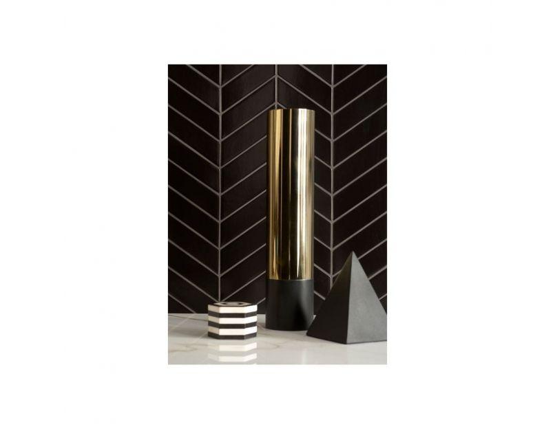 herringbone black matte mosaic tile