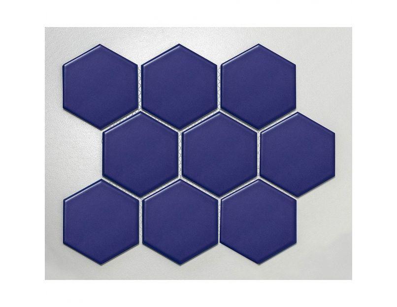 dark blue hexagon mosaic tile