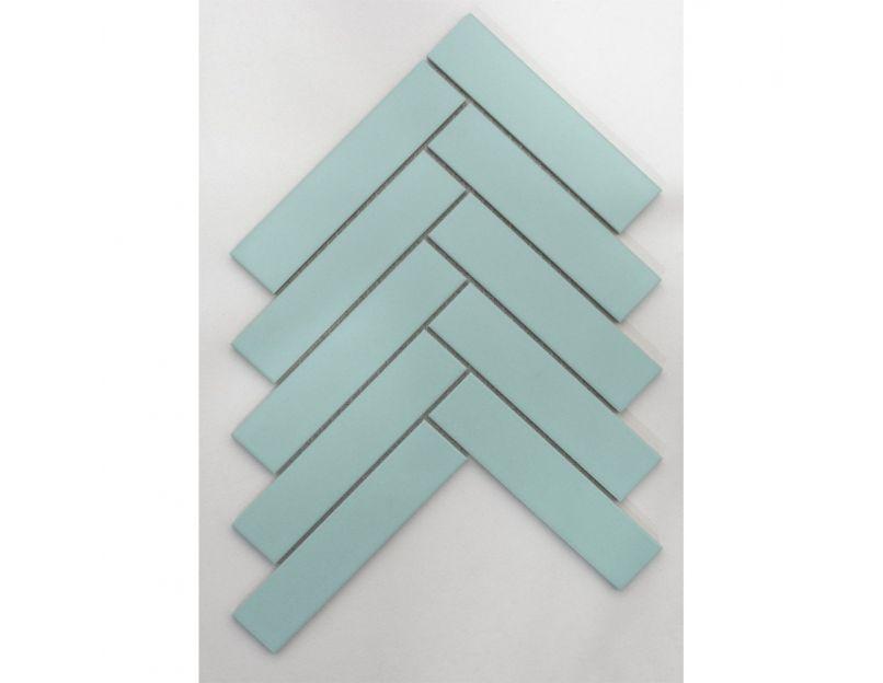 herringbone light green matt mosaic tile