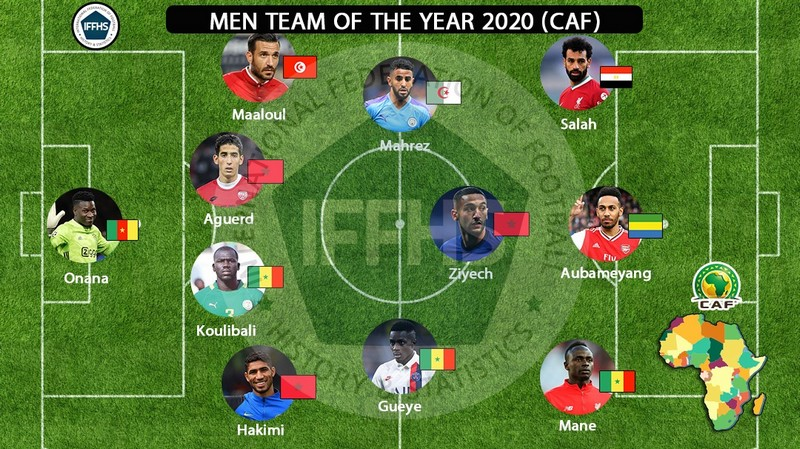 زياش، حكيمي وأكرد ضمن تشكيلة أفضل اللاعبين الأفارقة لعام 2020