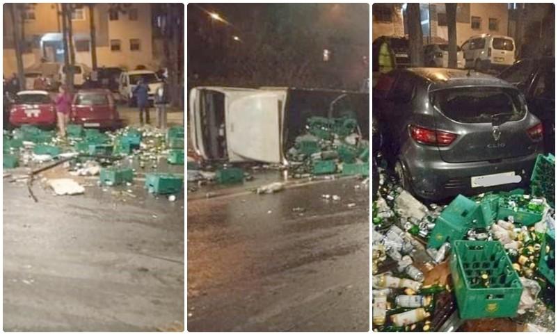 سائق 'سكران' لشاحنة 'بيرة'يعربد في شوارع الرباط ويهشم 12 سيارة