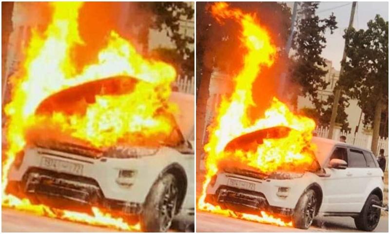 حارس الرجاء ينجو من كارثة لاندلاع النيران في سيارته بعد نهاية التداريب