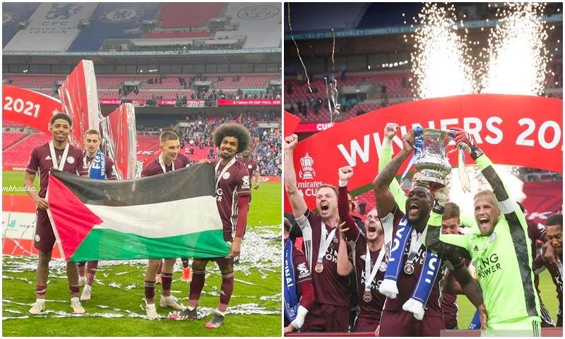 إشادات لرفع لاعبي 'ليستر سيتي' علم فلسطين خلال الاحتفال بلقب 'الاتحاد الإنجليزي'