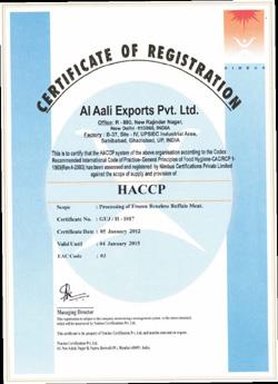 HACCP Buffalo meat Certification