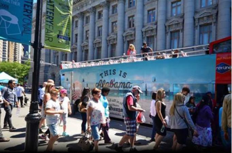 """A New York City tour bus gives riders a """"tour of Alabama,"""" with several stops promoting the Southern state as a good place to vacation. (Contributed)"""