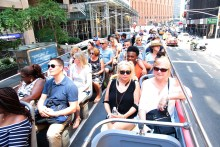 The double-decker bus tour was designed to provide the feel and the sounds of Alabama. (contributed)