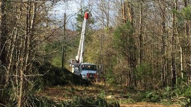 Alabama Power crews work to restore outages after storm damage in Reform. Crews joined restoration efforts from other states including Georgia, Florida, Mississippi, Tennessee and as far away as Oklahoma. (David Bailey/Alabama NewsCenter)
