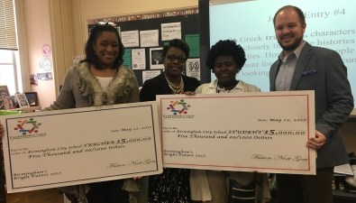 Ramsay High School teacher Dr. Heather Claibon, left, and student Mykala Prior, second from right, are Fusion NextGen finalists. (Brittany Faush-Johnson/Alabama NewsCenter)