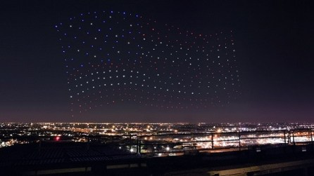 An Intel Shooting Star drones fleet lights up the sky in an American Flag formation as part of the Pepsi Zero Sugar Super Bowl LI Halftime Show. (Intel Corporation)