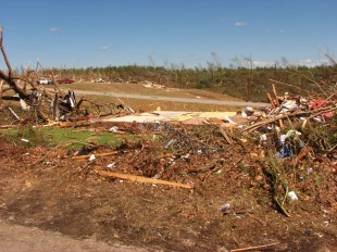 Damage from an EF-5 tornado that struck the town of Phil Campbell during the April 27, 2011 tornado outbreak. (NWS Huntsville, Wikipedia)