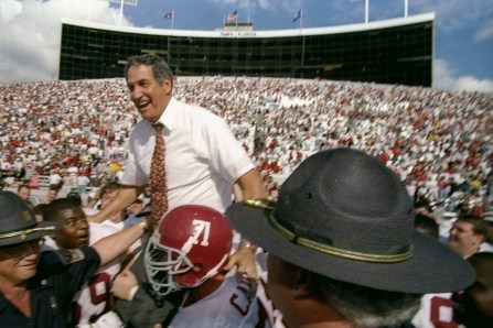 Alabama Crimson Tide head coach Gene Stallings celebrates after the Outback Bowl against the Michigan Wolverines in Tampa, Florida. Alabama won the game, 17-14. (Getty Images)