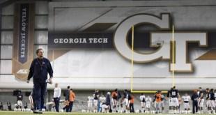 Auburn coach Gus Malzahn walks the Georgia Tech indoor facility before his team's first Atlanta practice on Wednesday. (Todd Van Emst/AU Athletics)