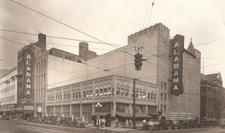 A 1920s photograph shows the Alabama Theatre's original twin signs. (Contributed)