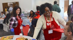 Wendy Malone and Rikesha Foster get a sense of joy from serving others through the Salvation Army. (Karim Shamsi-Basha / Alabama NewsCenter)