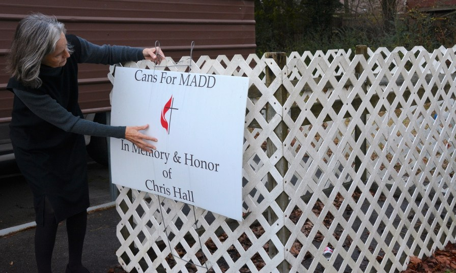 Chris Hall was devoted to MADD for the last 10 years of his life. Since his death, his wife, Brenda, has continued to work with the organization and tell the couple's story. (Karim Shamsi-Basha / Alabama NewsCenter)