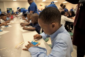 South Hampton children enjoy some Christmas fun courtesy of Project Blue Elf. (Brittany Faush / Alabama NewsCenter)