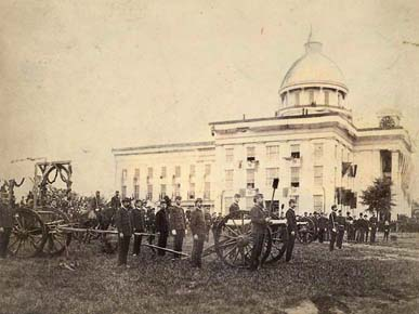 Soldiers with the Montgomery Field Artillery attend the ceremony for the laying of the cornerstone of the Confederate Monument on Capitol Hill in Montgomery on April 29, 1886. (From Encyclopedia of Alabama, Alabama Department of Archives and History)