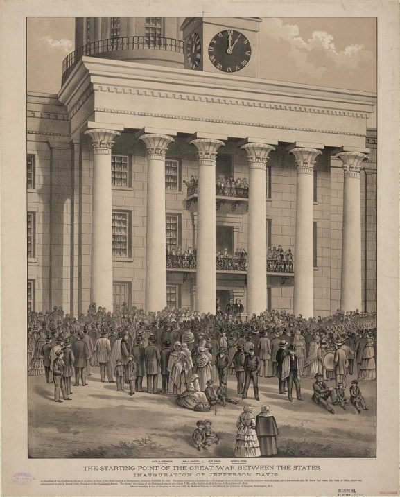 Print shows a crowd gathered in front of the capitol building at Montgomery, at the time of the announcement of Jefferson Davis as the first President of the Confederate States of America, c. 1888. (Lithograph by A. Hoen & Co., Library of Congress Prints and Photographs Division)