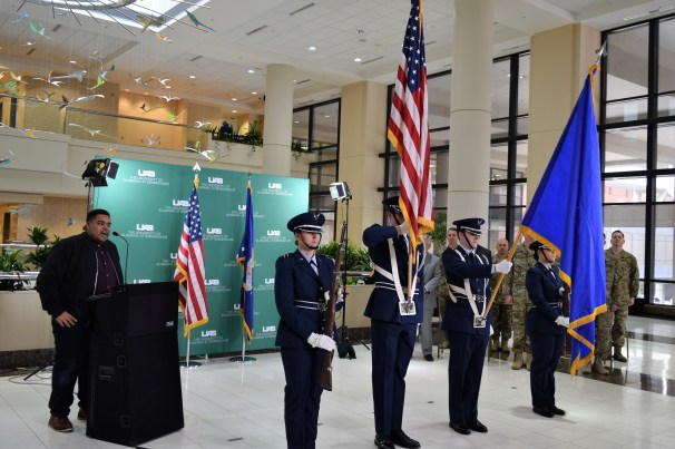Ceremonies opened with the showing of the U.S. flag. (Donna Cope/Alabama NewsCenter)