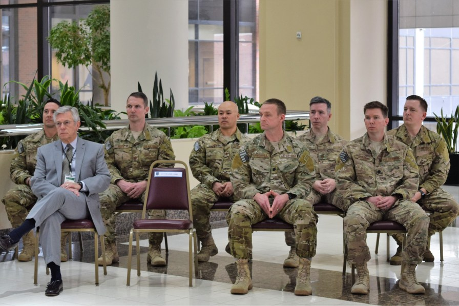 Ferniany (left) and the airmen. (Donna Cope/Alabama NewsCenter)