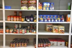 The pantry at the Committee on Church Cooperation, stocked by Barrels of Love. (Karim Shamsi-Basha / Alabama NewsCenter)