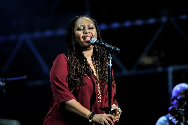 Lalah Hathaway performs on stage at the 2014 International Jazz Day Global Concert on April 30, 2014 in Osaka, Japan. (Keith Tsuji/Getty Images for Thelonious Monk Institute of Jazz)