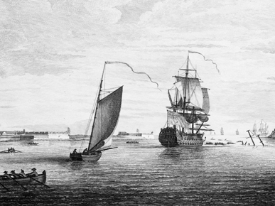 A View of the Entrance of the Harbour of the Havana, Taken From Within the Wrecks. Drawn by Elias Durnford and engraved by Peter Canot. (From Encyclopedia of Alabama, courtesy of Library of Congress)