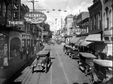 During the Roaring Twenties, Dauphin Street was the retail center of Mobile. (From Encyclopedia of Alabama, courtesy of Erik Overbey Collection, The Doy Leale McCall Rare Book and Manuscript Library)