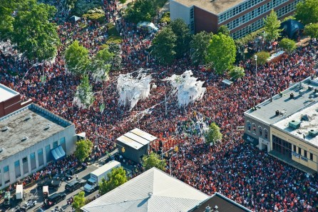 Auburn fans pack the streets at Toomer's Corner after rolling the oaks in the time-honored tradition of celebration following an Auburn football win. (Auburn University)