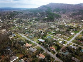 Drone footage reveals the path of the tornado with destroyed homes, trees and power lines. (Alabama Power Drone Team)