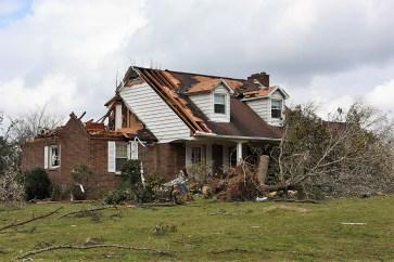 Many homes were damaged in Jacksonville. (Wynter Byrd / Alabama NewsCenter)
